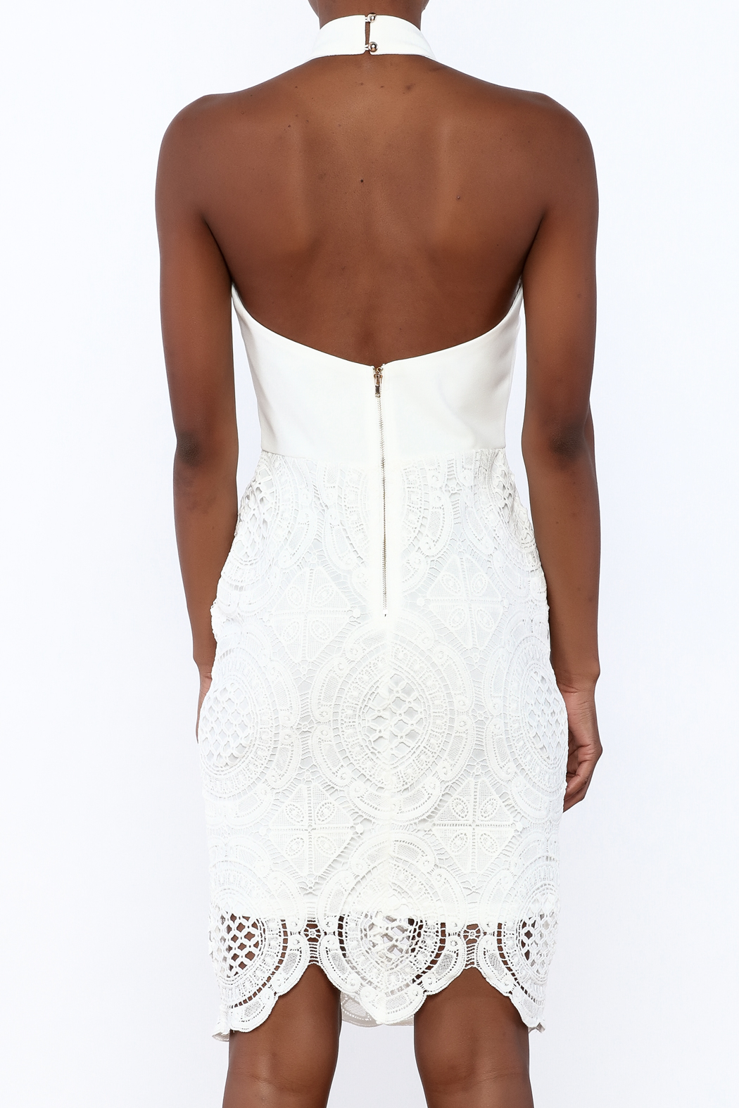 Clara Story White Crochet Knee Dress - Back Cropped Image
