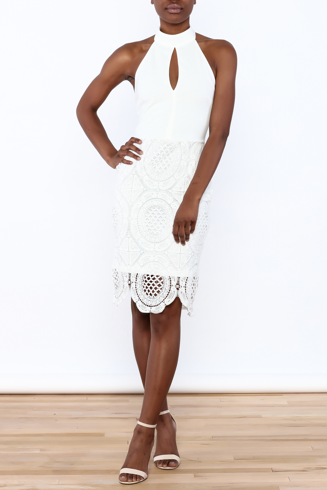 Clara Story White Crochet Knee Dress - Front Full Image