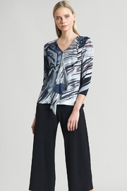 Clara Sunwoo Clara SunWoo Abstract Floral Stripe Cascade Drape Top - Black/Taupe T46PE - Product Mini Image