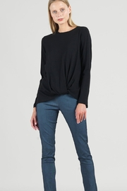 Clara Sunwoo Clara Sunwoo Modal Cotton Knit Twist Hem Top - Black T214LMC - Product Mini Image