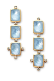 The Birds Nest Clara Tier Earring Gold Iridescent Chalcedony Blue - Front cropped