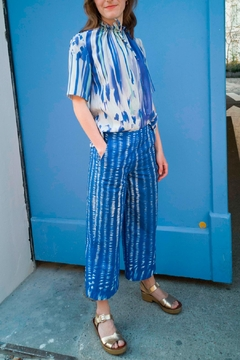 Clara Kaesdorf Blouse With Ruffles In Blue And Mint - Alternate List Image