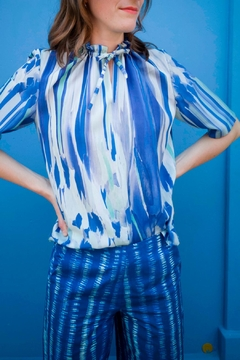 Clara Kaesdorf Blouse With Ruffles In Blue And Mint - Product List Image