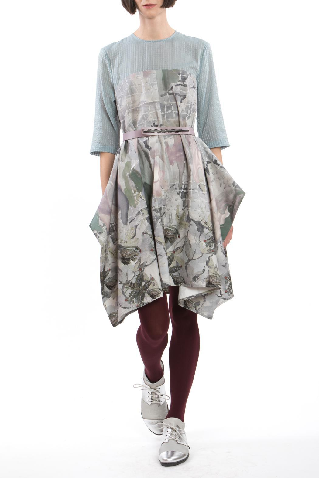 Clara Kaesdorf Changeable Dress Grey Blue - Front Cropped Image