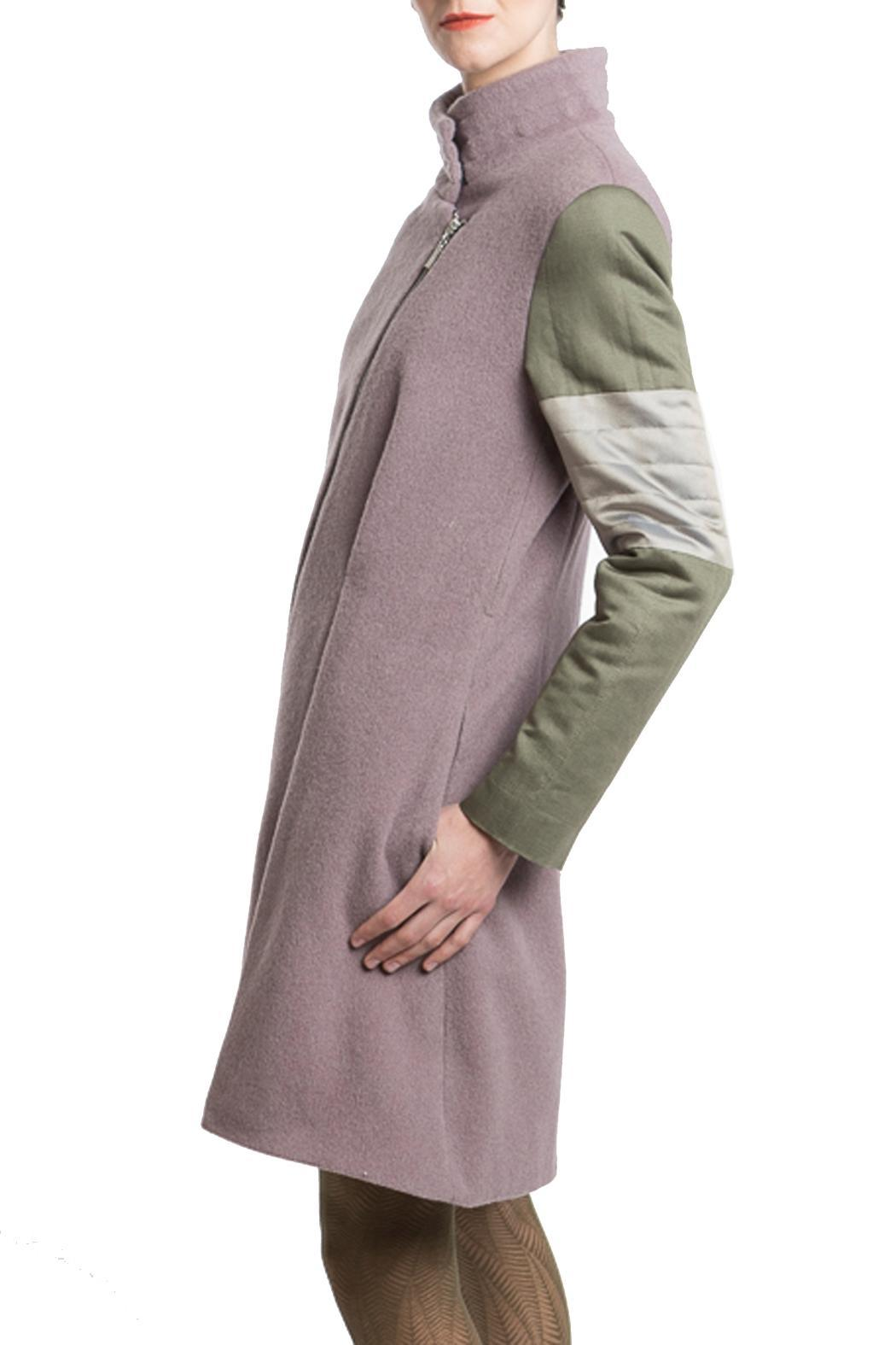 Clara Kaesdorf Coat Pink Green - Back Cropped Image