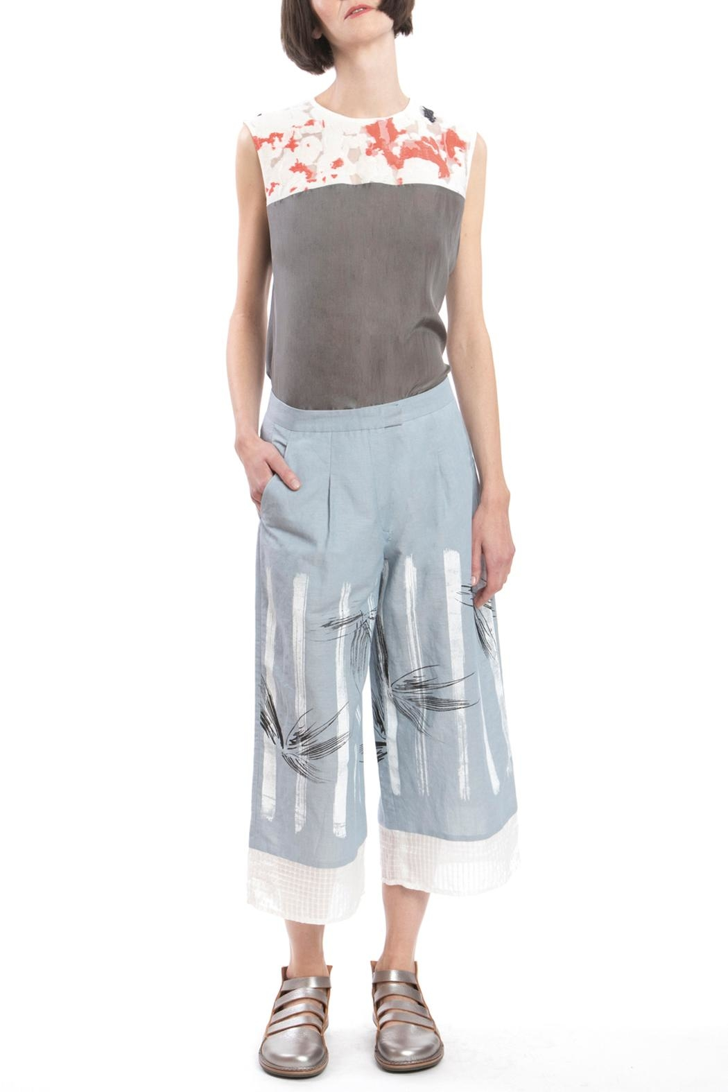Clara Kaesdorf Culotte Blue Linen - Front Cropped Image