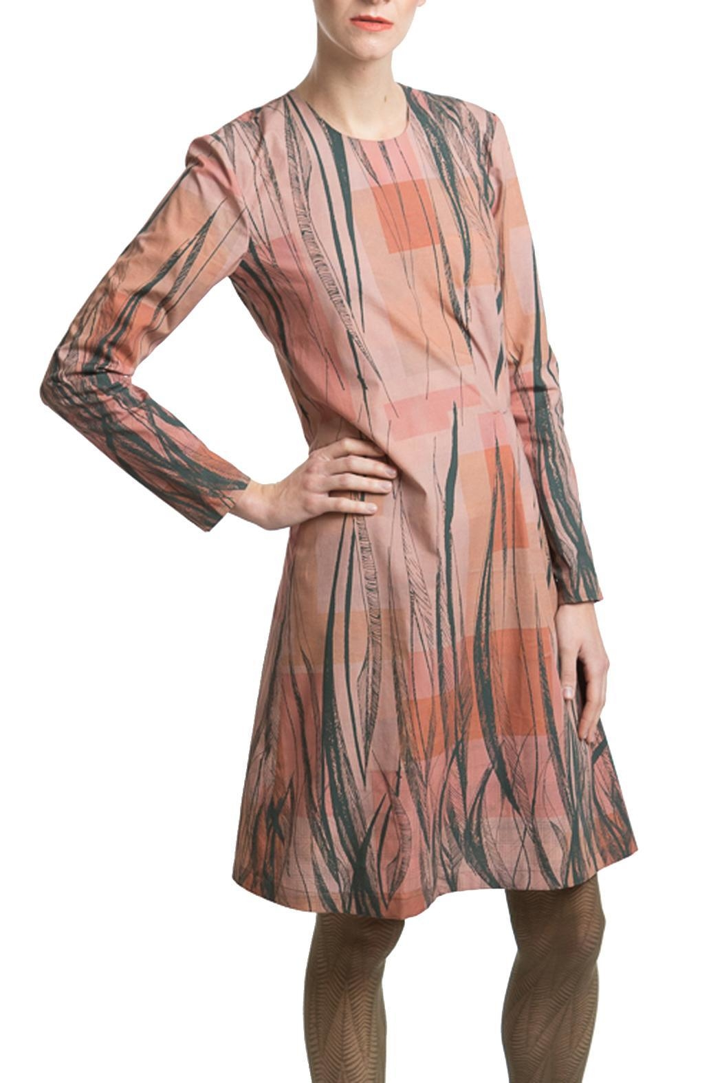 Clara Kaesdorf Dress Feather Print - Front Cropped Image