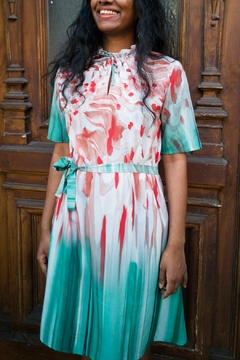 Clara Kaesdorf Dress With Collar Detailing In Red And Green - Alternate List Image