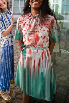 Clara Kaesdorf Dress With Collar Detailing In Red And Green - Product List Image
