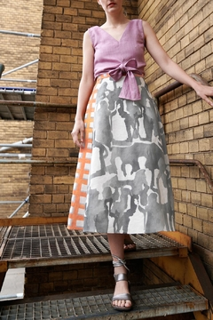 Shoptiques Product: Flared Linen Skirt With Grey Print