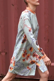 Clara Kaesdorf Floral Shirt Dress In Mint Orange - Product Mini Image