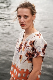 Clara Kaesdorf Linen Shirt With Orange Print - Product Mini Image