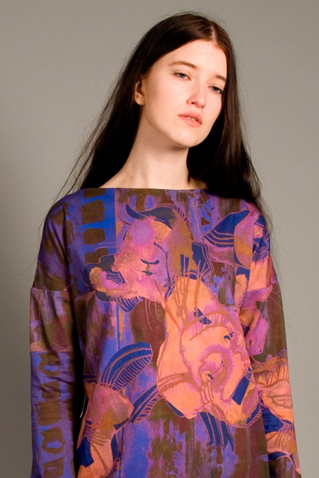 Clara Kaesdorf Loose Cut Top With Flowers - Front Cropped Image