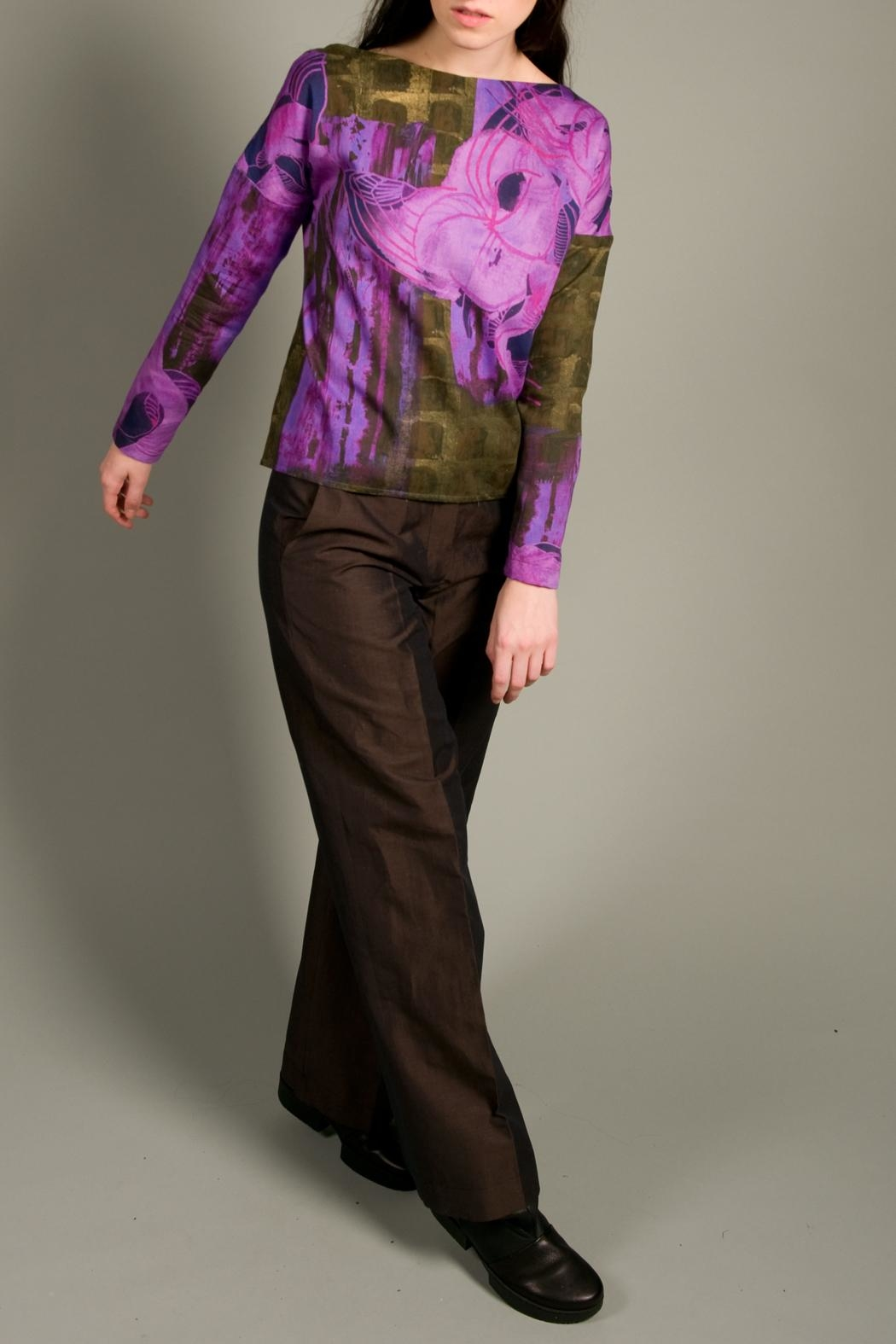 Clara Kaesdorf Loose Cut Top With Flowers - Front Full Image
