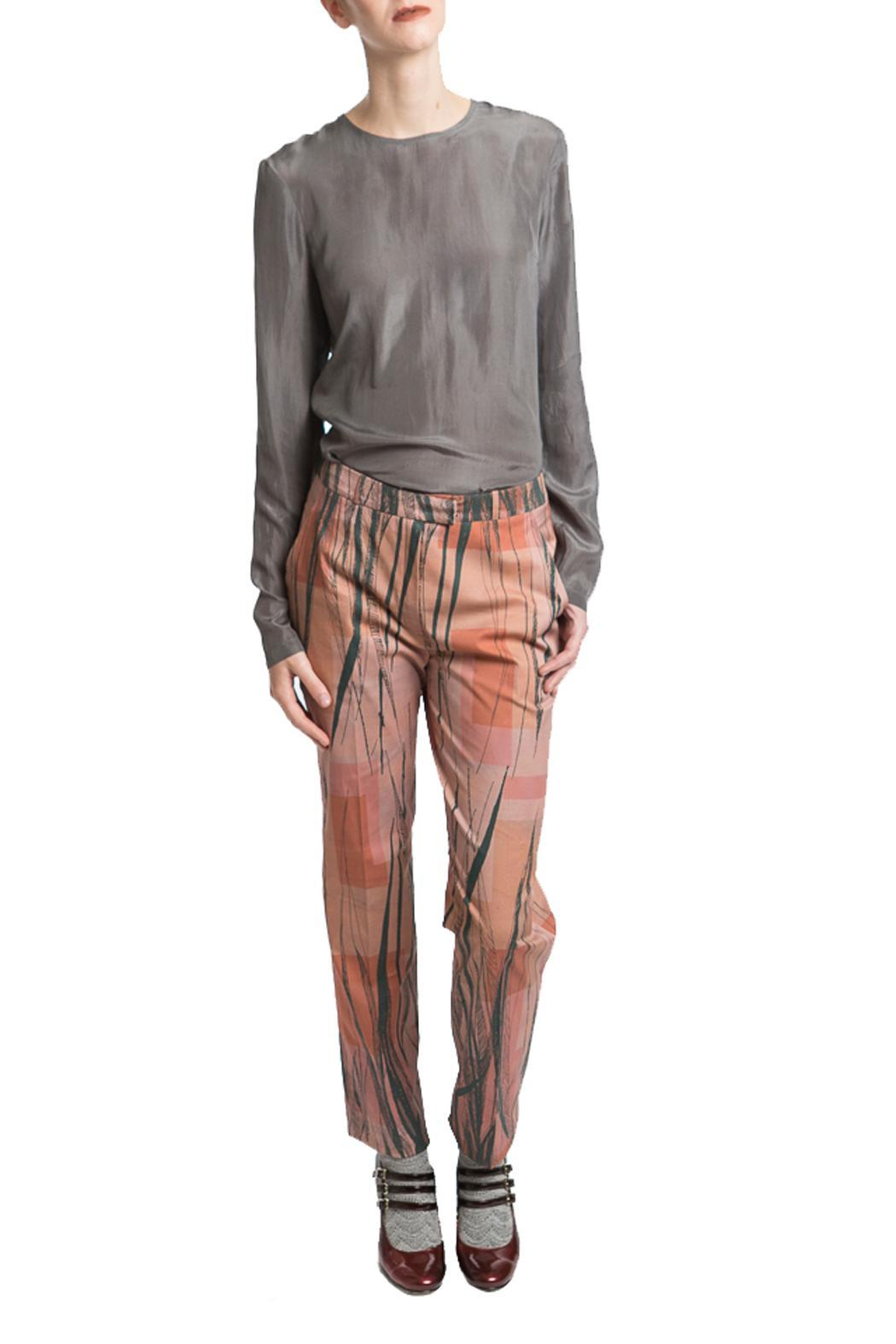 Clara Kaesdorf Pants Feather Print - Back Cropped Image