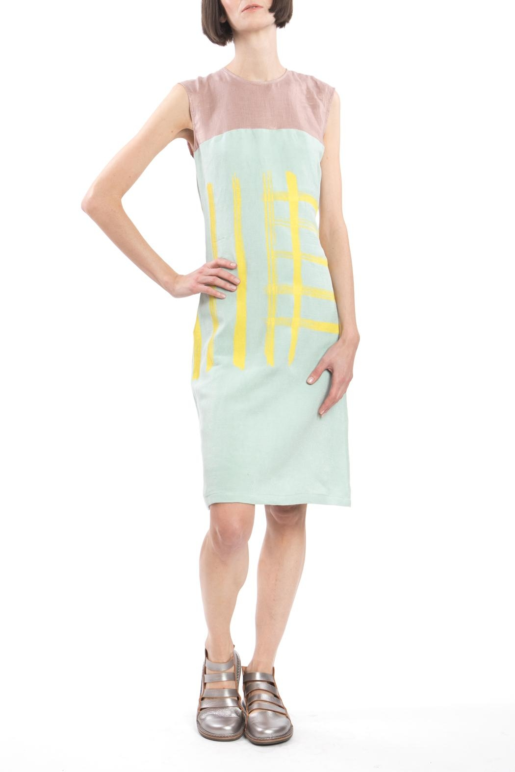 Clara Kaesdorf Shift Yellow Print Dress - Side Cropped Image