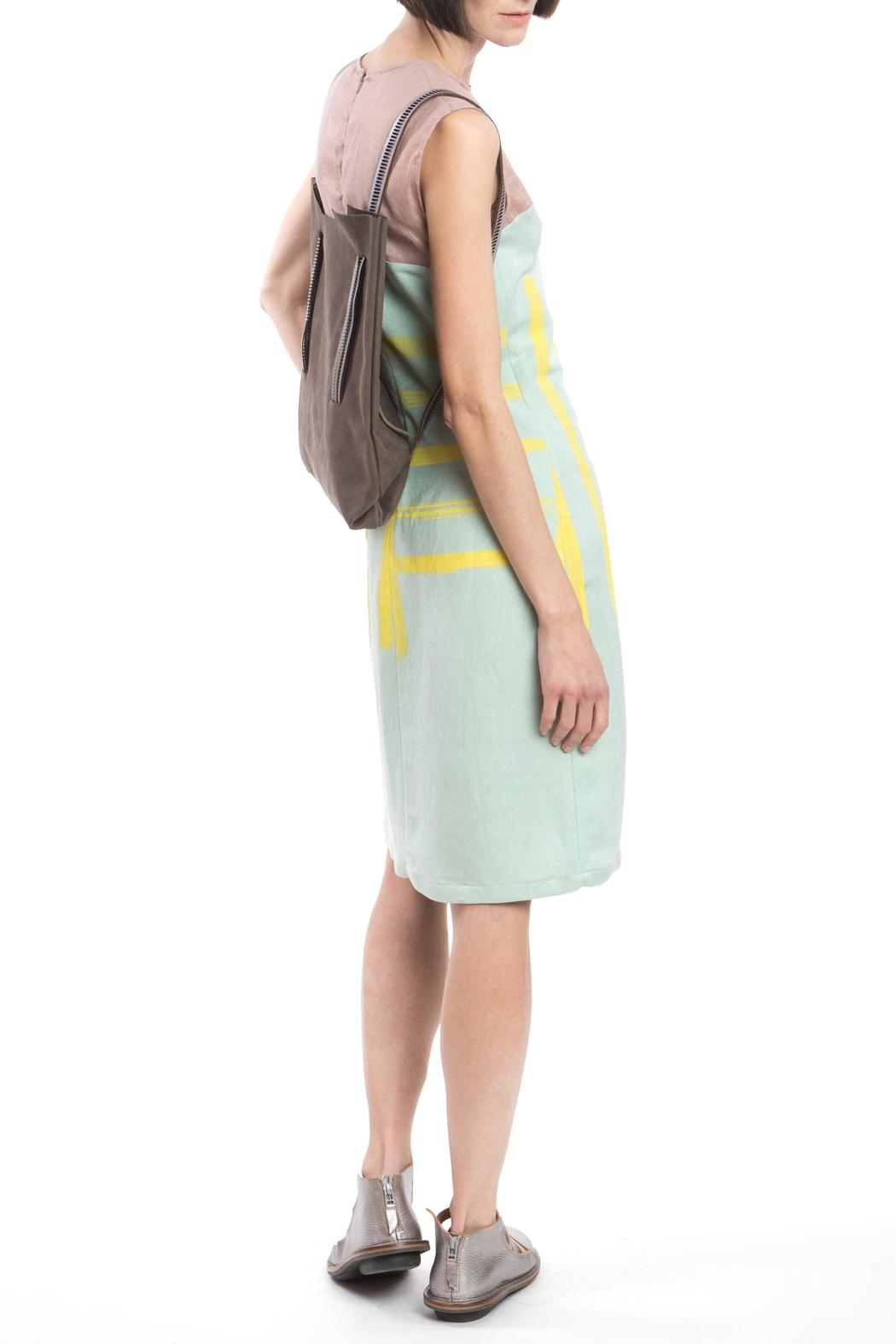 Clara Kaesdorf Shift Yellow Print Dress - Back Cropped Image