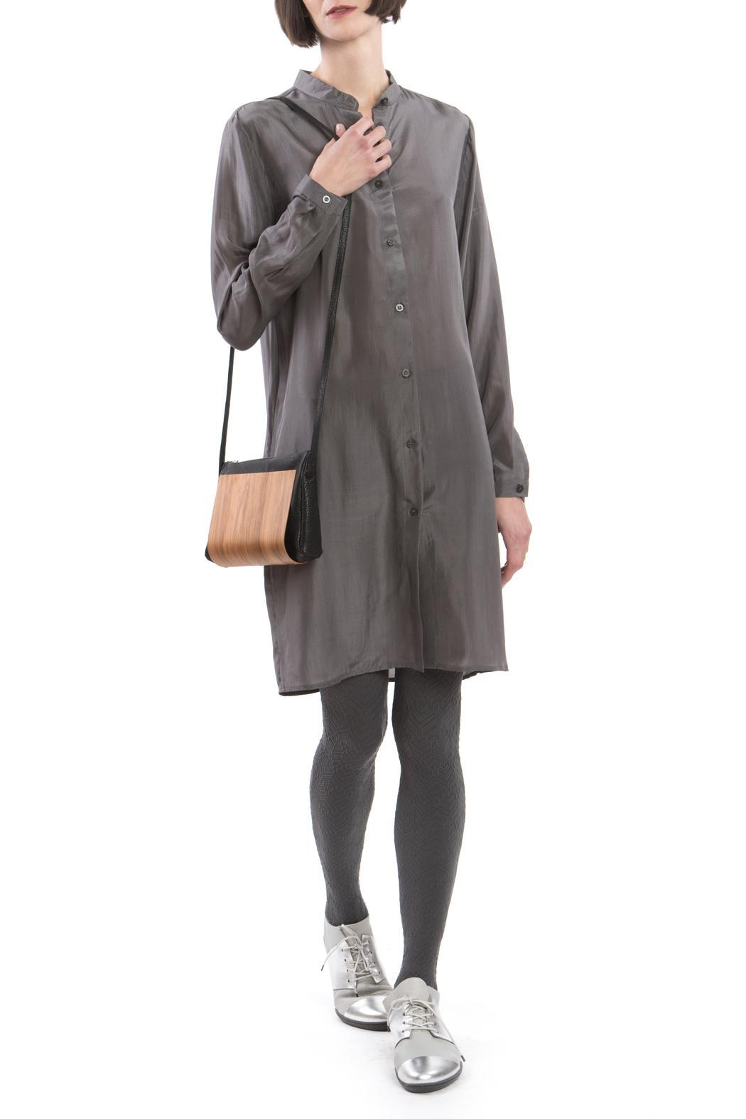 Clara Kaesdorf Grey Silk Shirtdress - Side Cropped Image