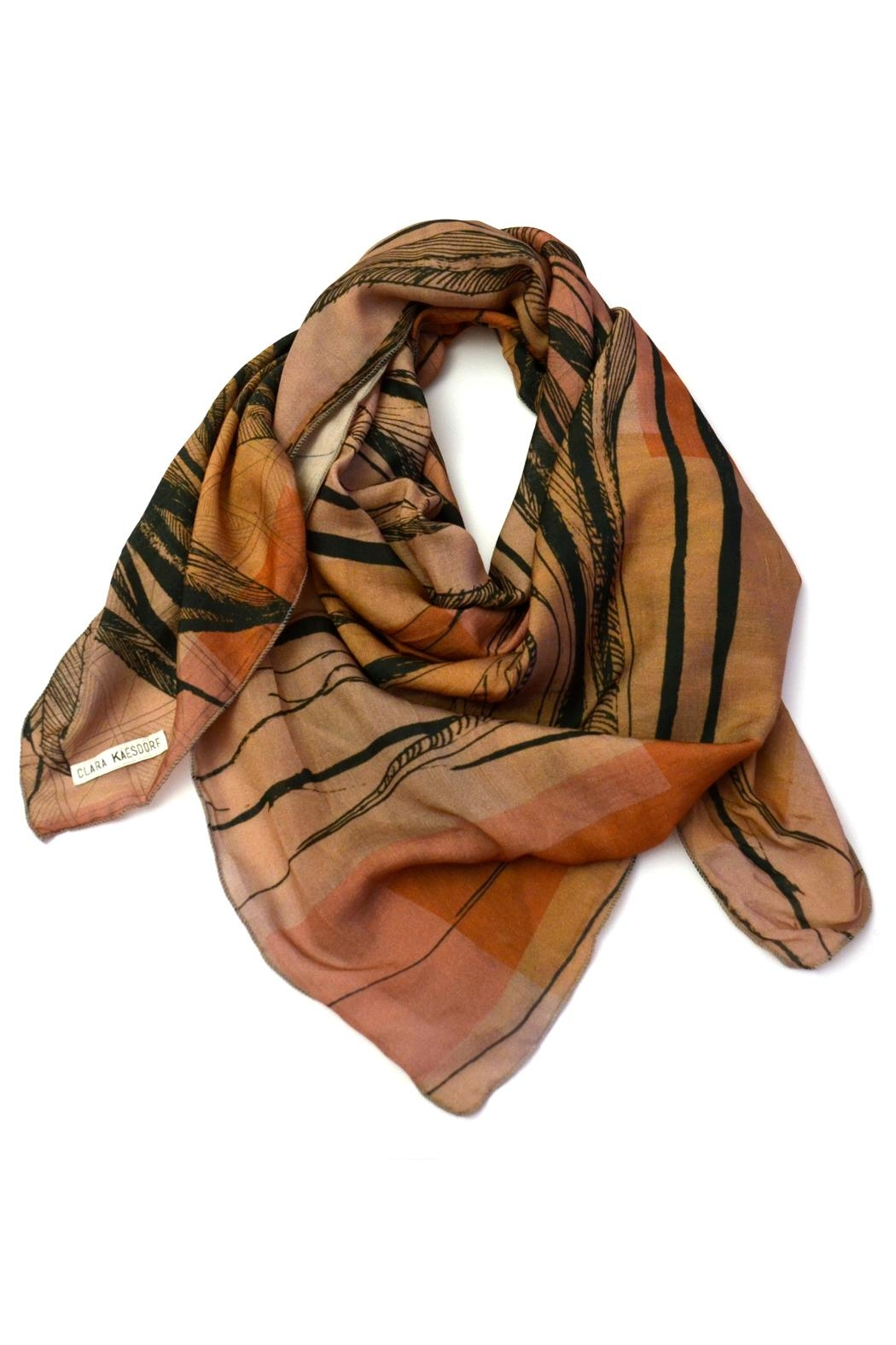 Clara Kaesdorf Silk Scarf Feather - Front Cropped Image