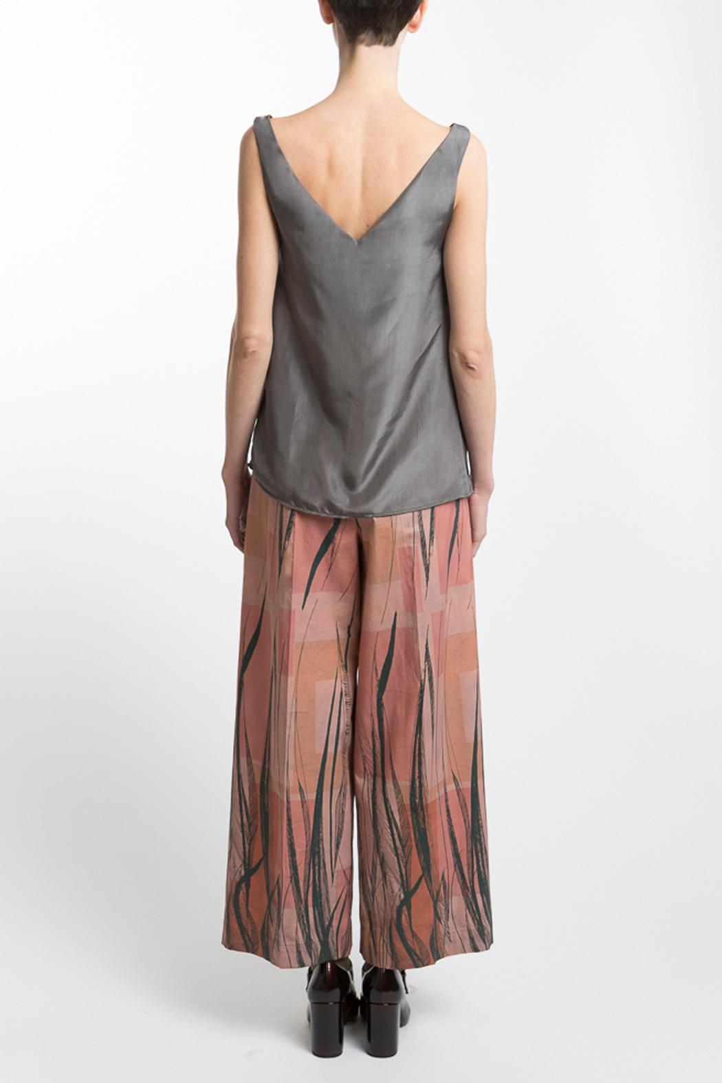 Clara Kaesdorf Gray Silk Top - Back Cropped Image