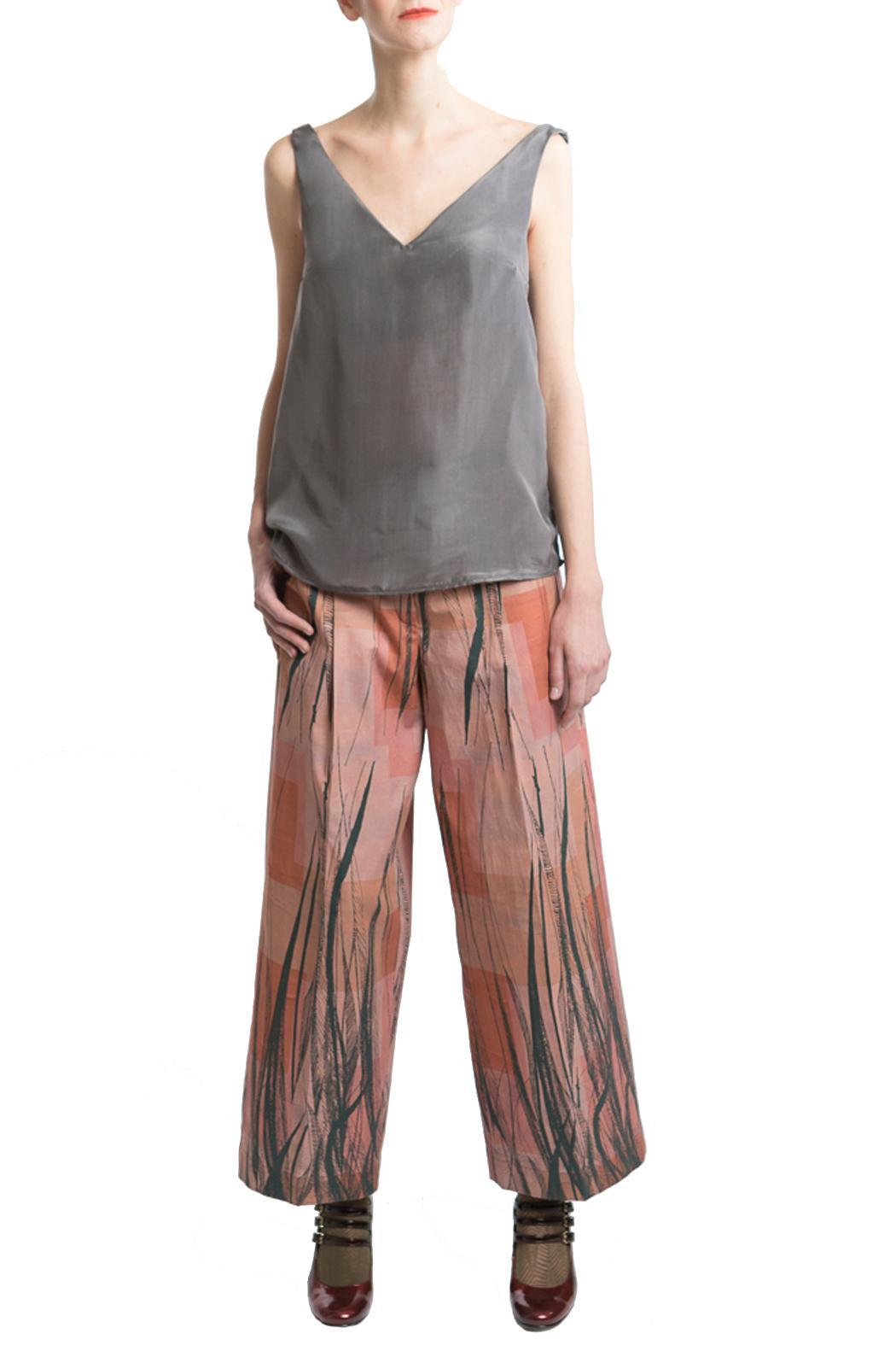 Clara Kaesdorf Gray Silk Top - Side Cropped Image