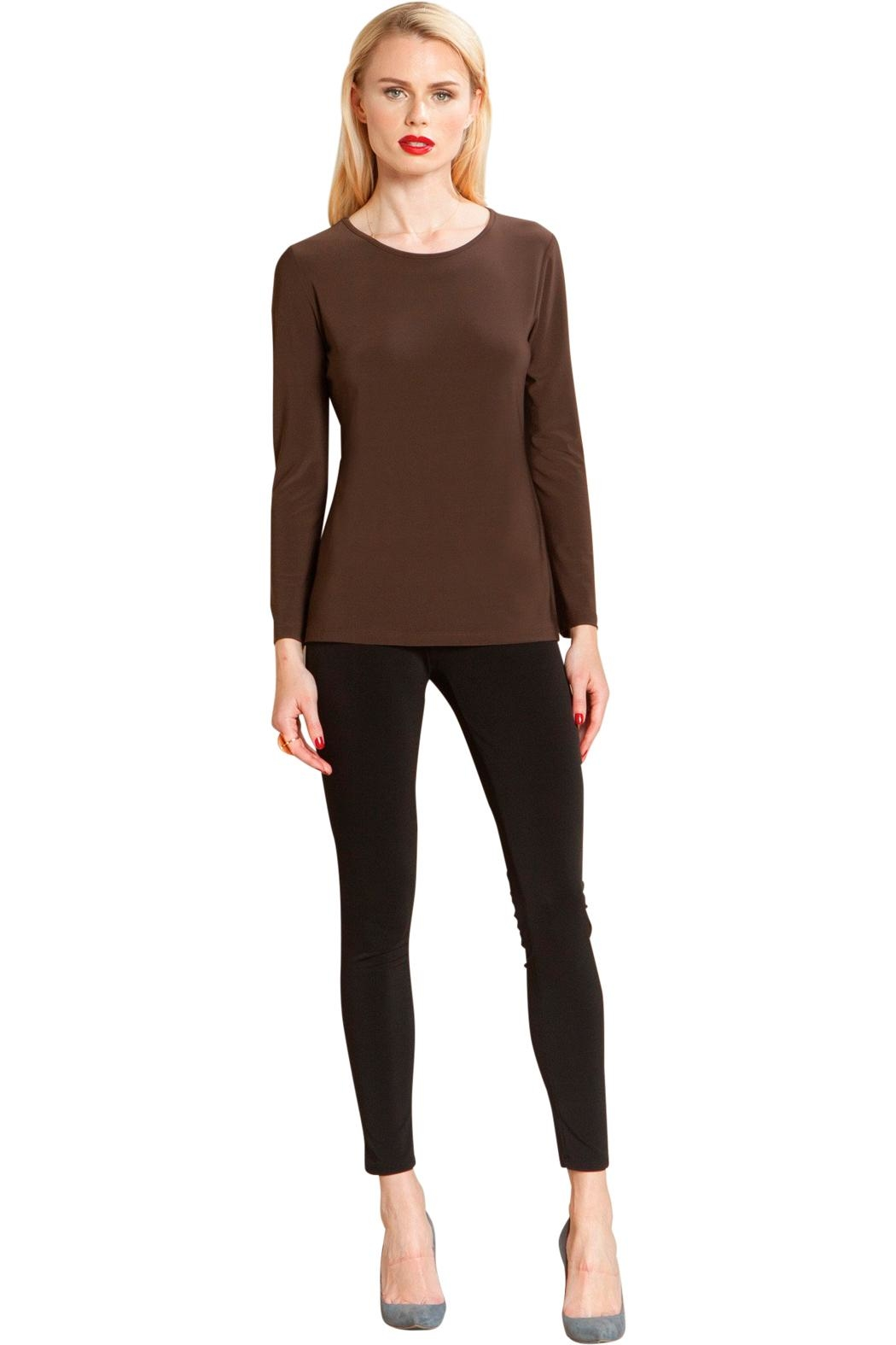 Clara Sunwoo Brown Scoopneck Top - Front Cropped Image