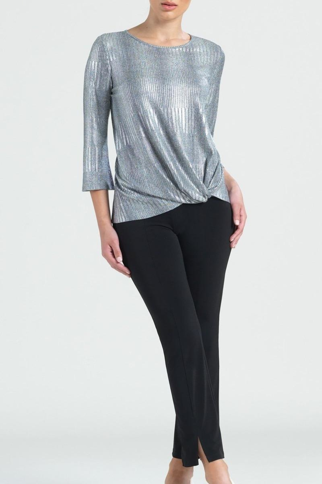 Clara Sunwoo Silver Lame Top - Front Cropped Image