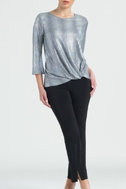 Clara Sunwoo Silver Lame Top - Front cropped