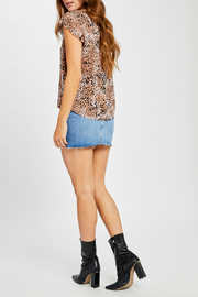 Gentle Fawn Claret V neck Animal Print Top - Side cropped