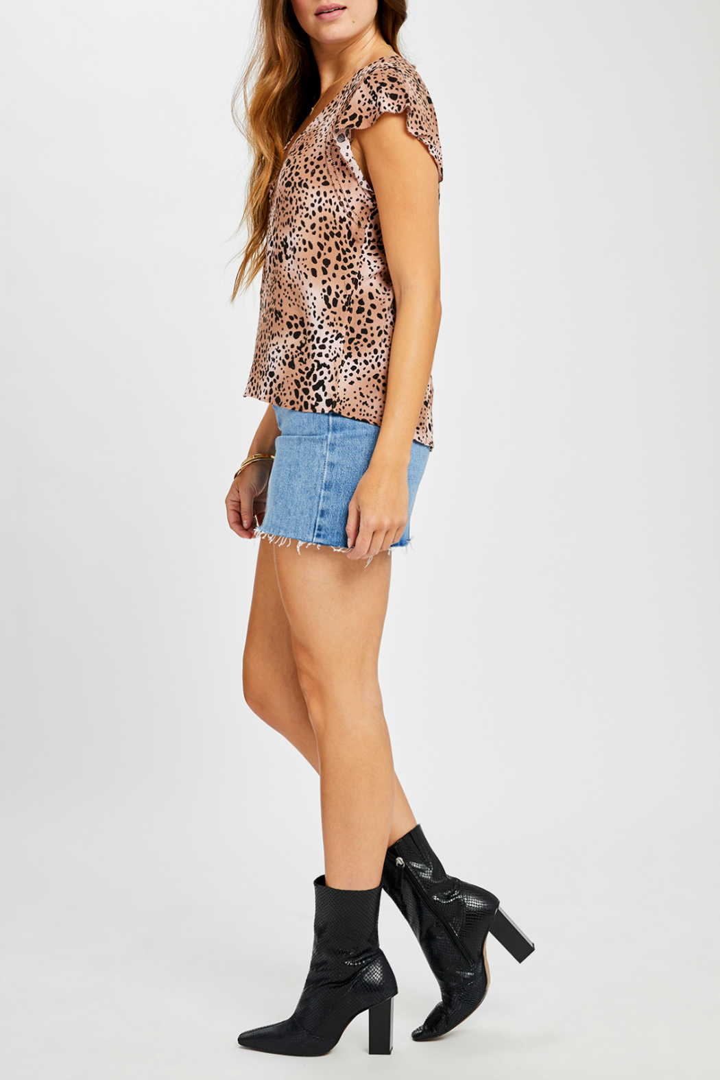 Gentle Fawn Claret V neck Animal Print Top - Front Full Image