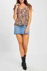 Gentle Fawn Claret V neck Animal Print Top - Front cropped