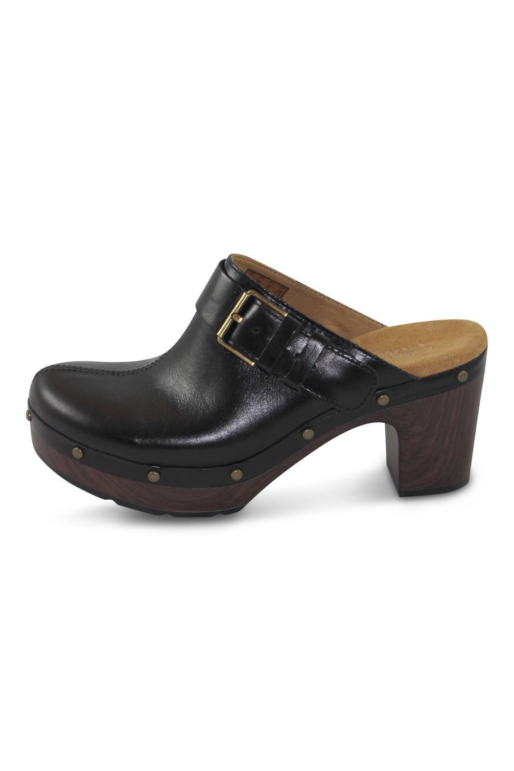 Clarks Black Open Clog - Front Cropped Image