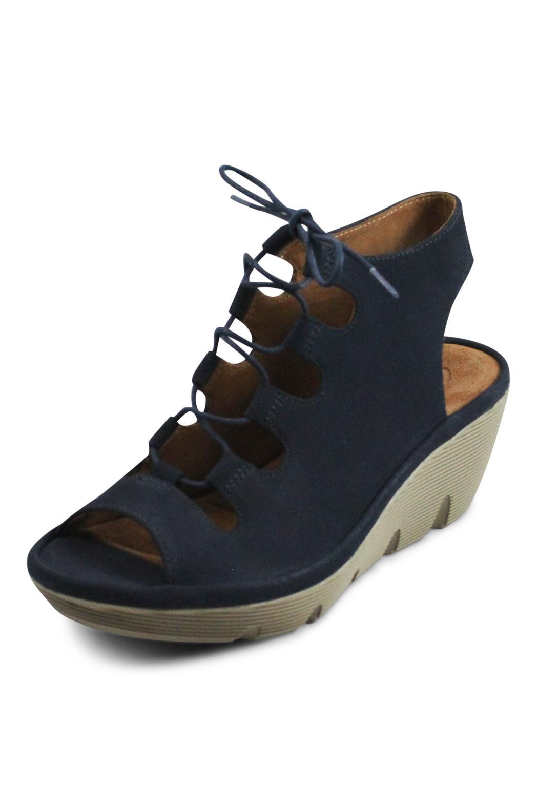 Clarks Navy Lace Wedge - Front Full Image