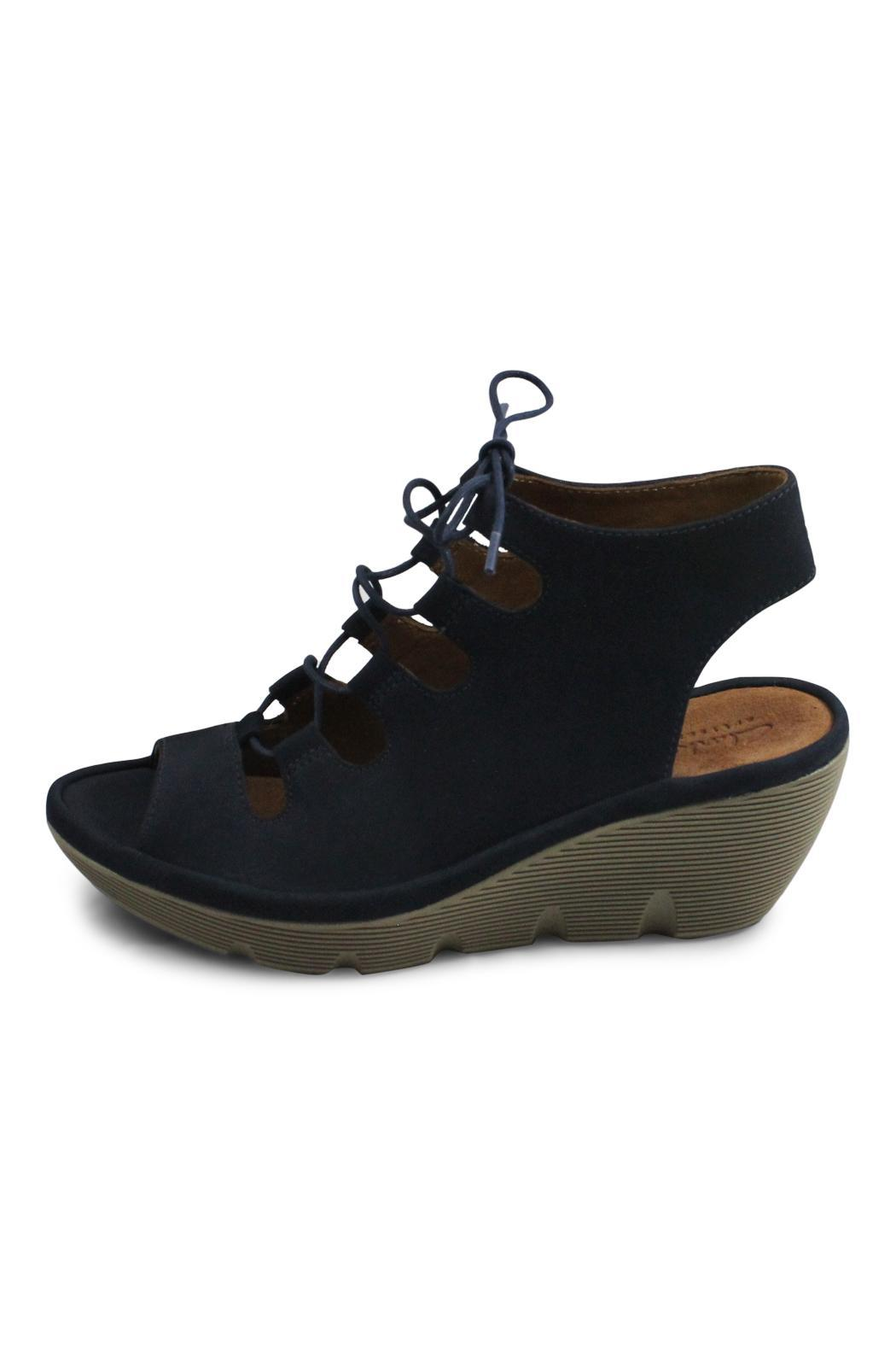 Clarks Navy Lace Wedge - Front Cropped Image