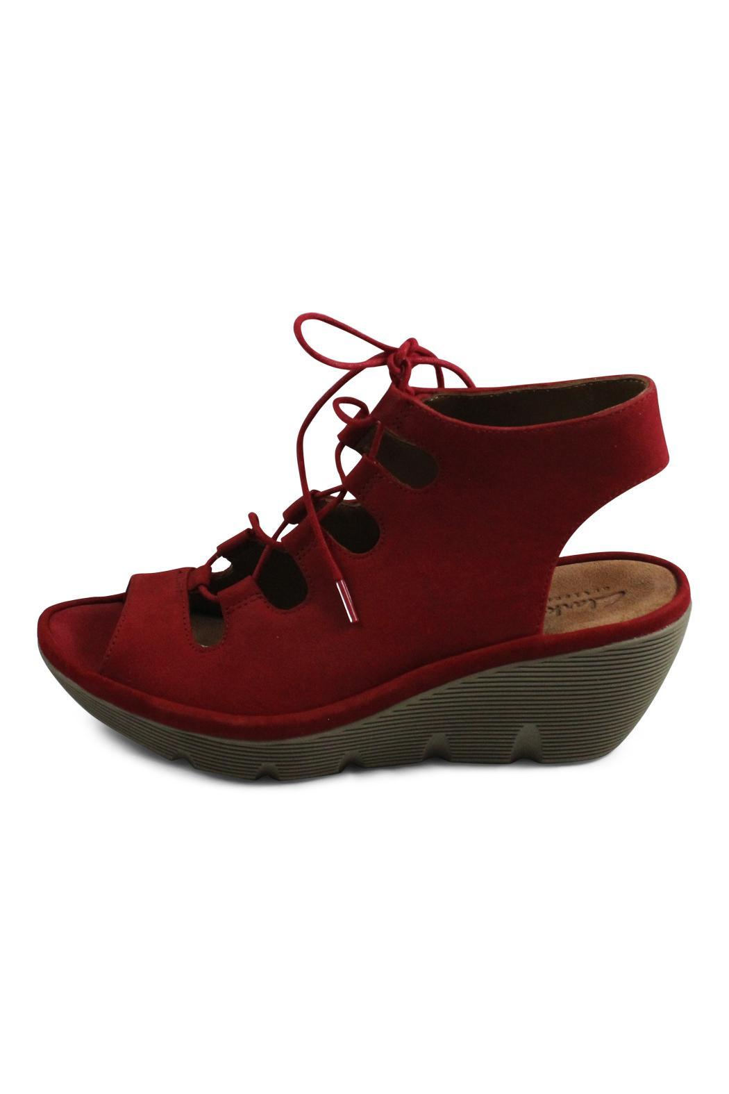 Clarks Red Lace Wedge - Front Cropped Image