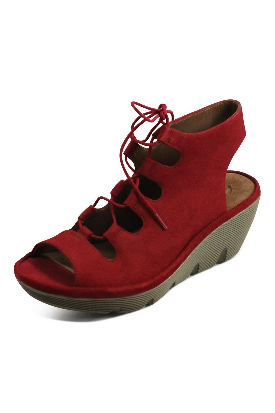 Clarks Red Lace Wedge - Front Full Image