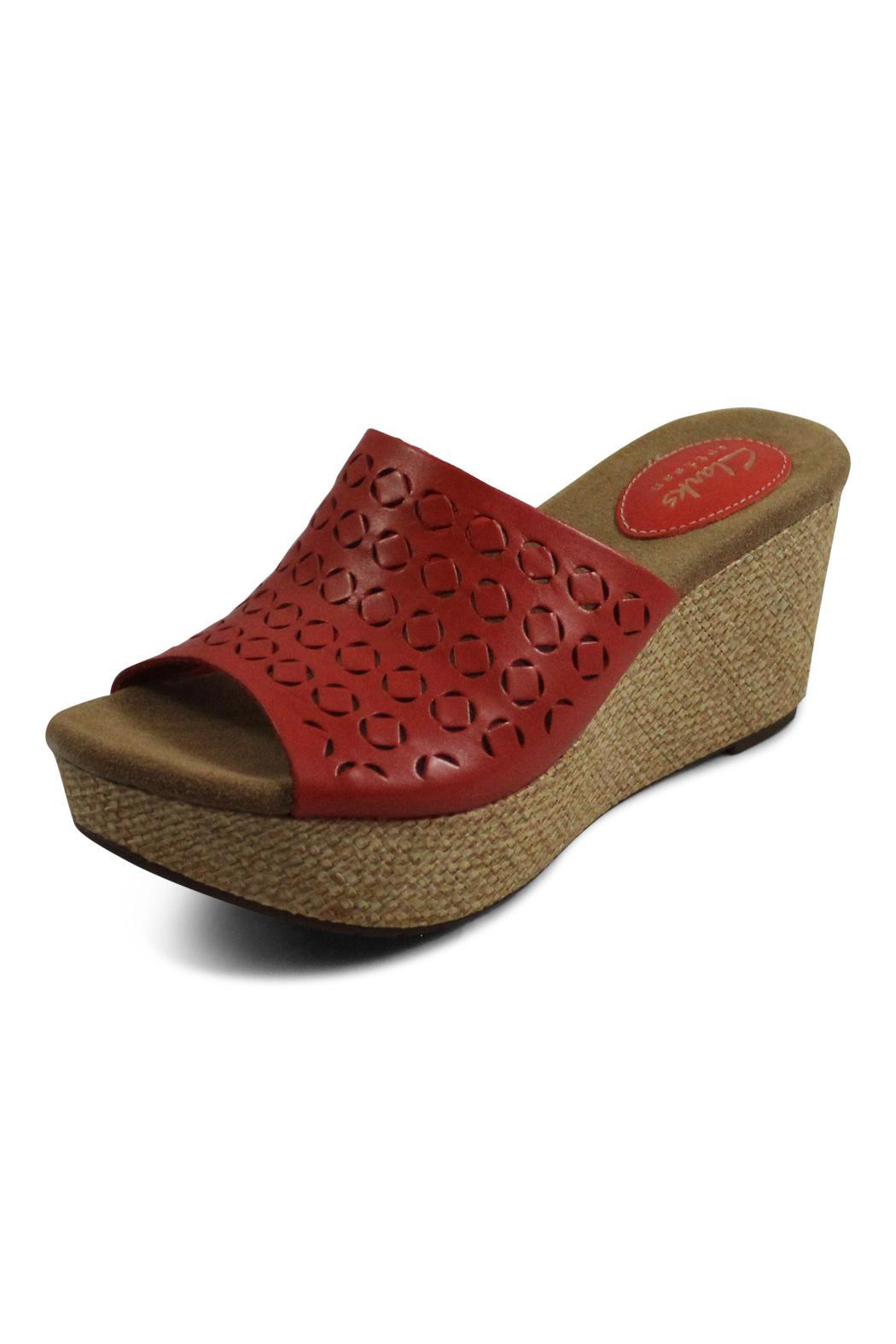Clarks Red Wedge Sandal - Front Full Image