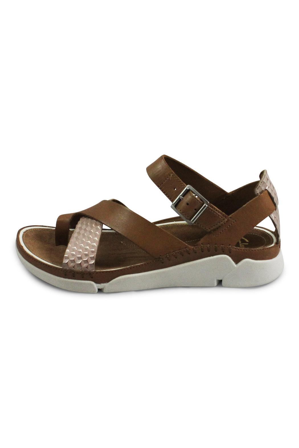 Clarks Tan Flat Sandal - Front Cropped Image