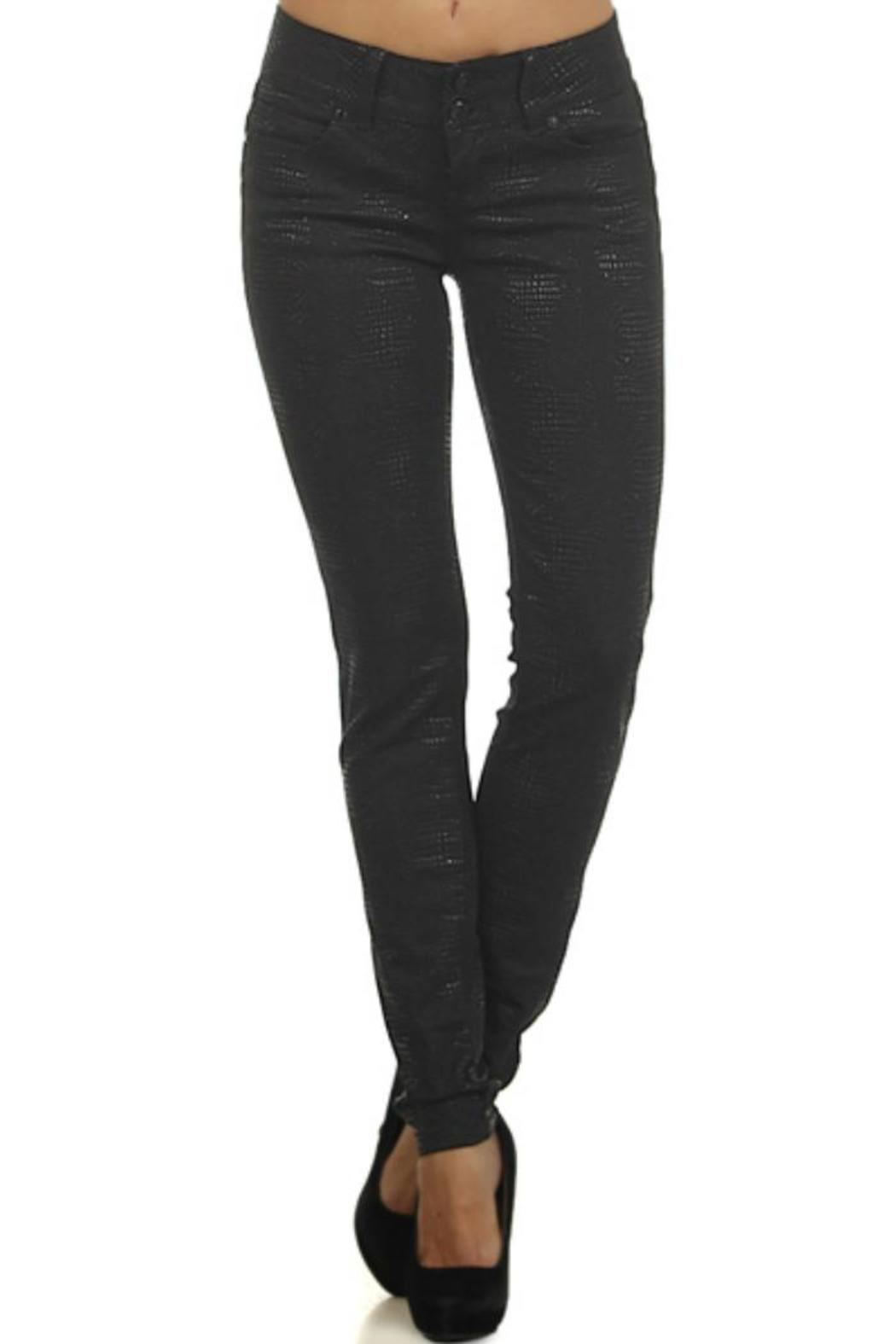 Clash Jeans USA Reptile-Embossed Coated Jeans - Main Image