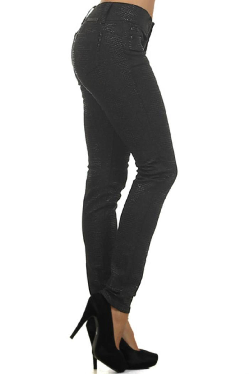 Clash Jeans USA Reptile-Embossed Coated Jeans - Side Cropped Image