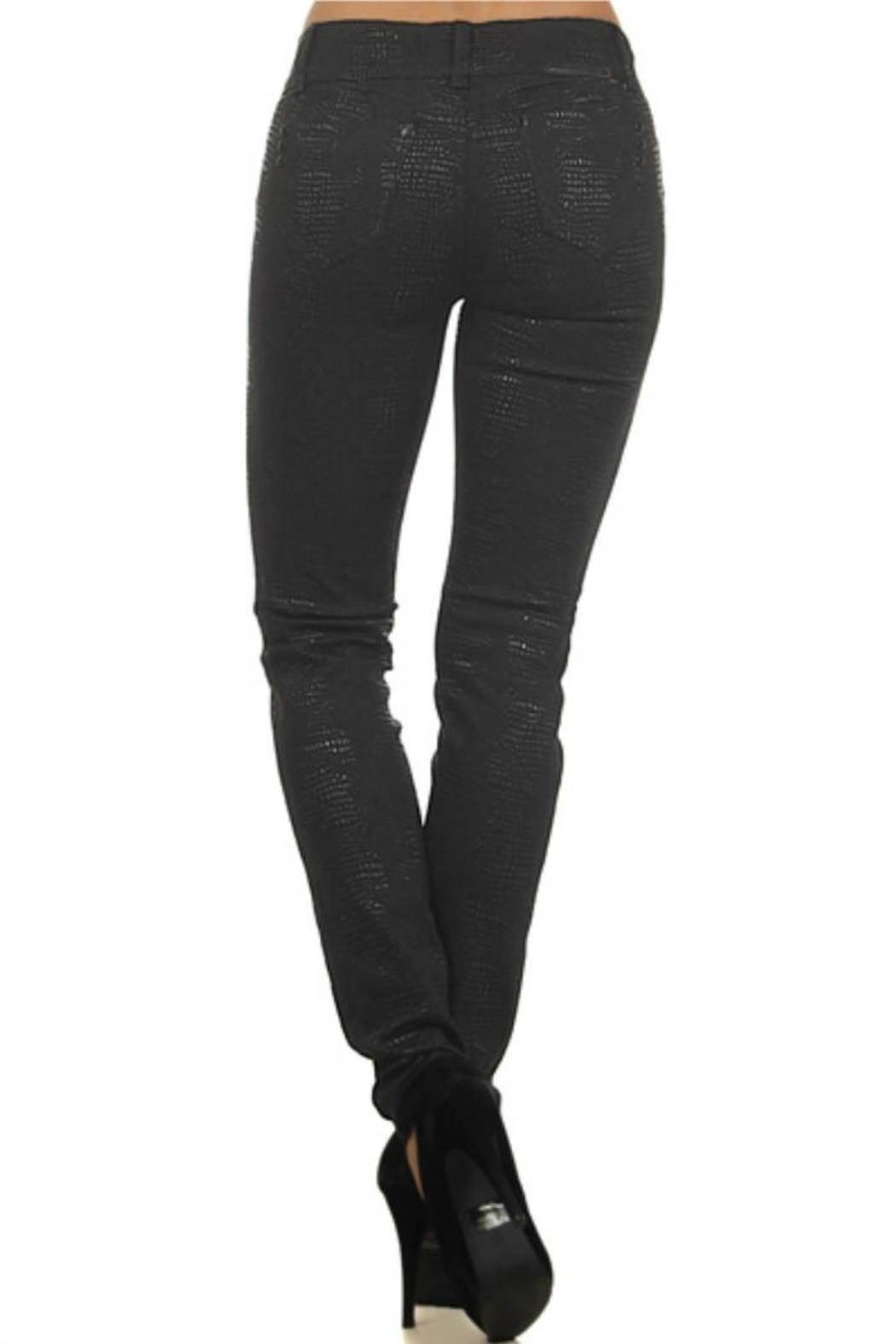 Clash Jeans USA Reptile-Embossed Coated Jeans - Front Full Image