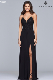 Faviana Classic Beaded Gown - Front cropped
