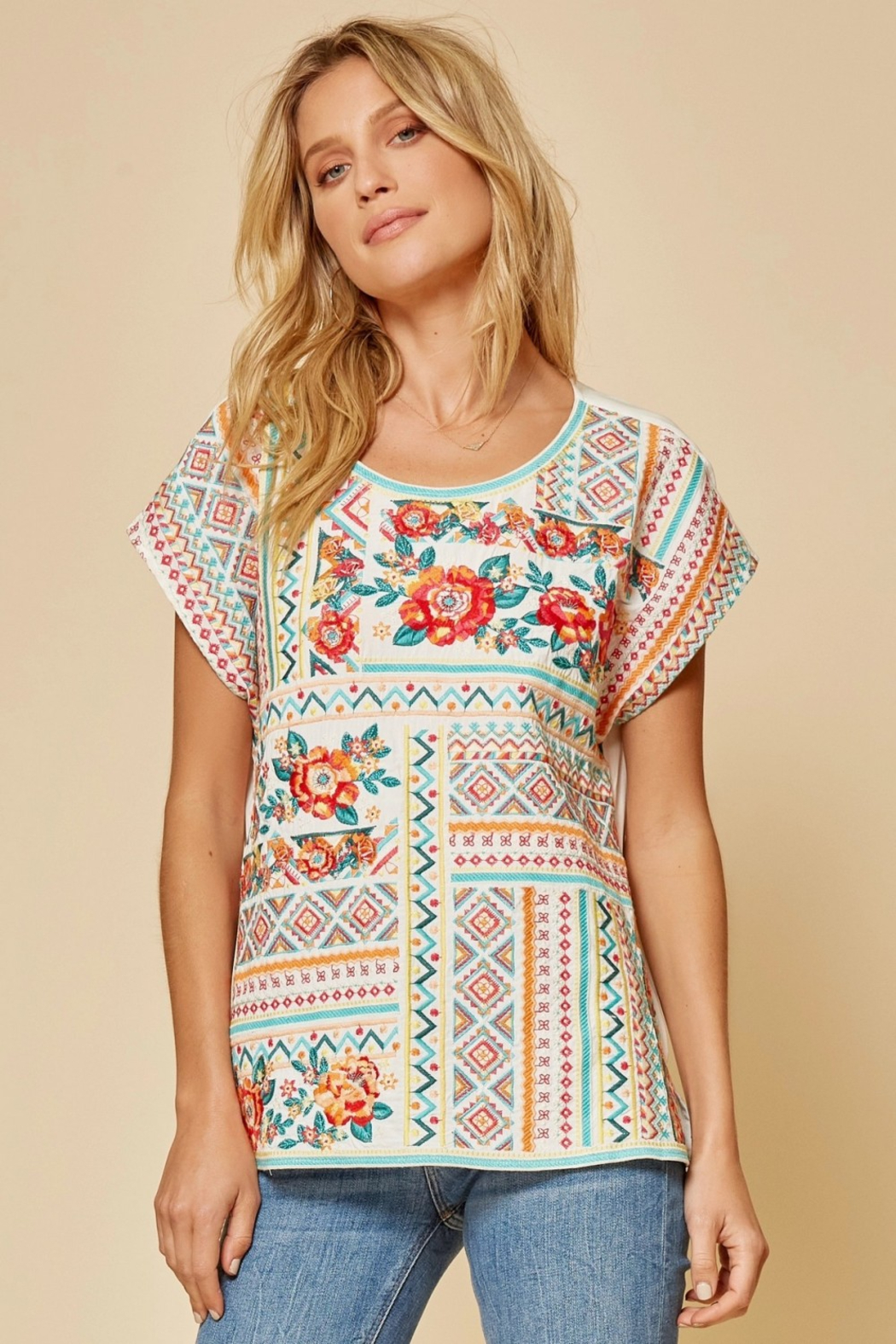 Savanna Jane Classic Beauty Embroidered Top - Side Cropped Image
