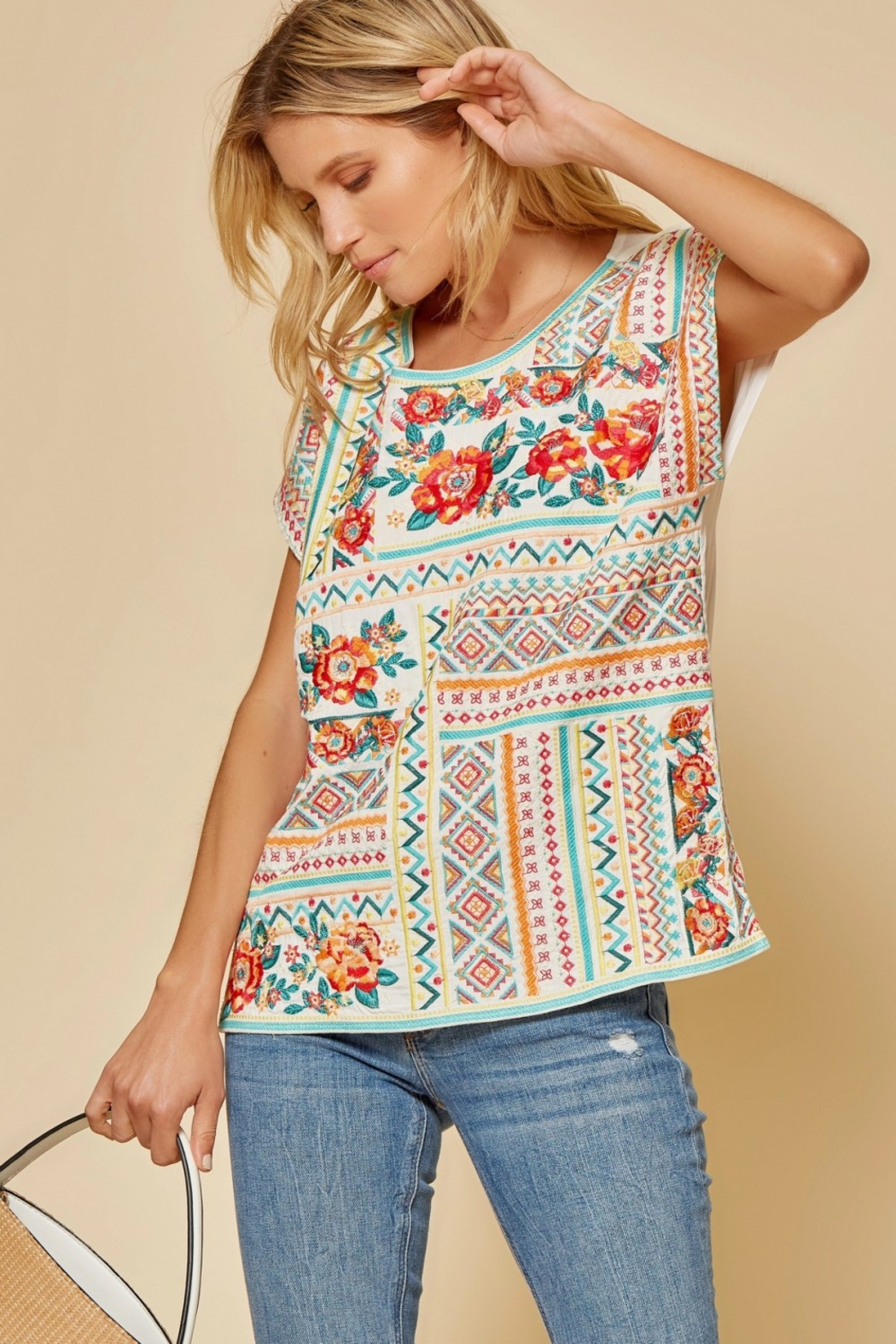 Savanna Jane Classic Beauty Embroidered Top - Front Full Image
