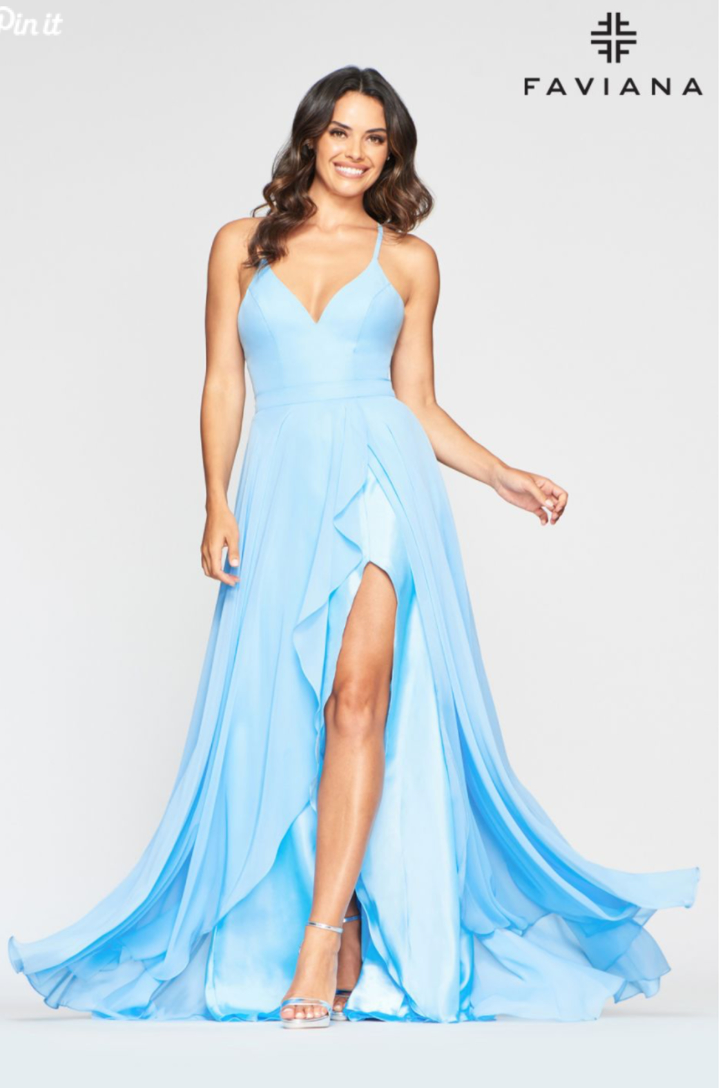 Faviana Classic Chiffon Gown - Side Cropped Image