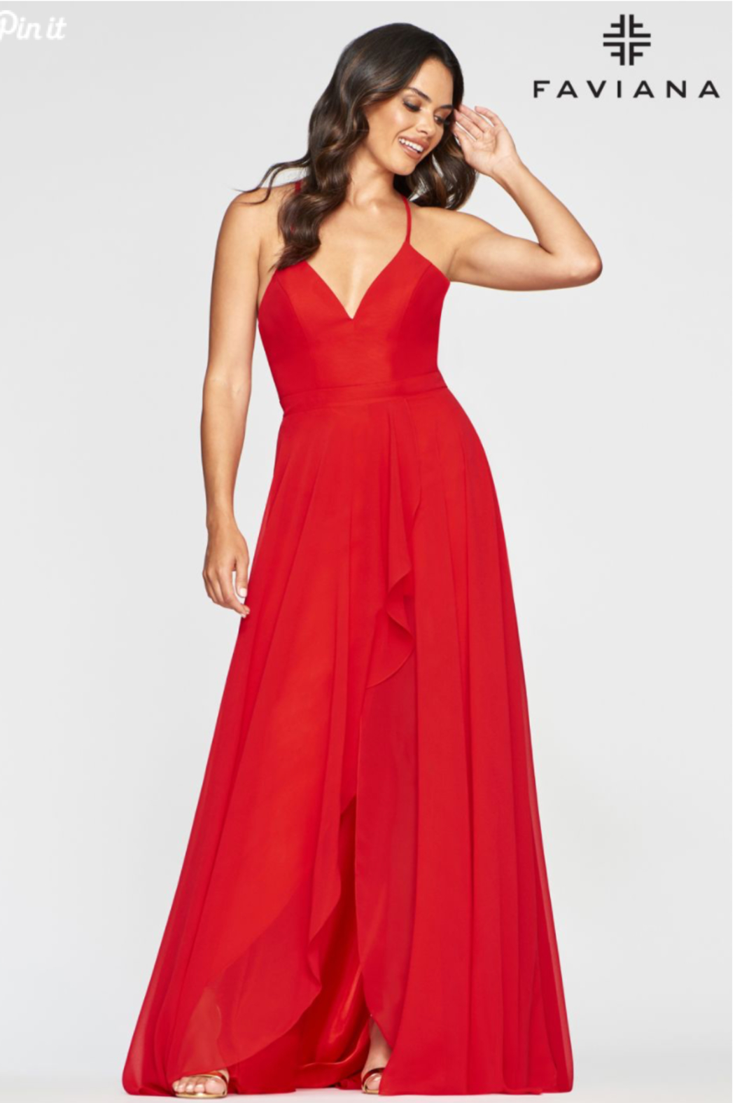 Faviana Classic Chiffon Gown - Front Cropped Image