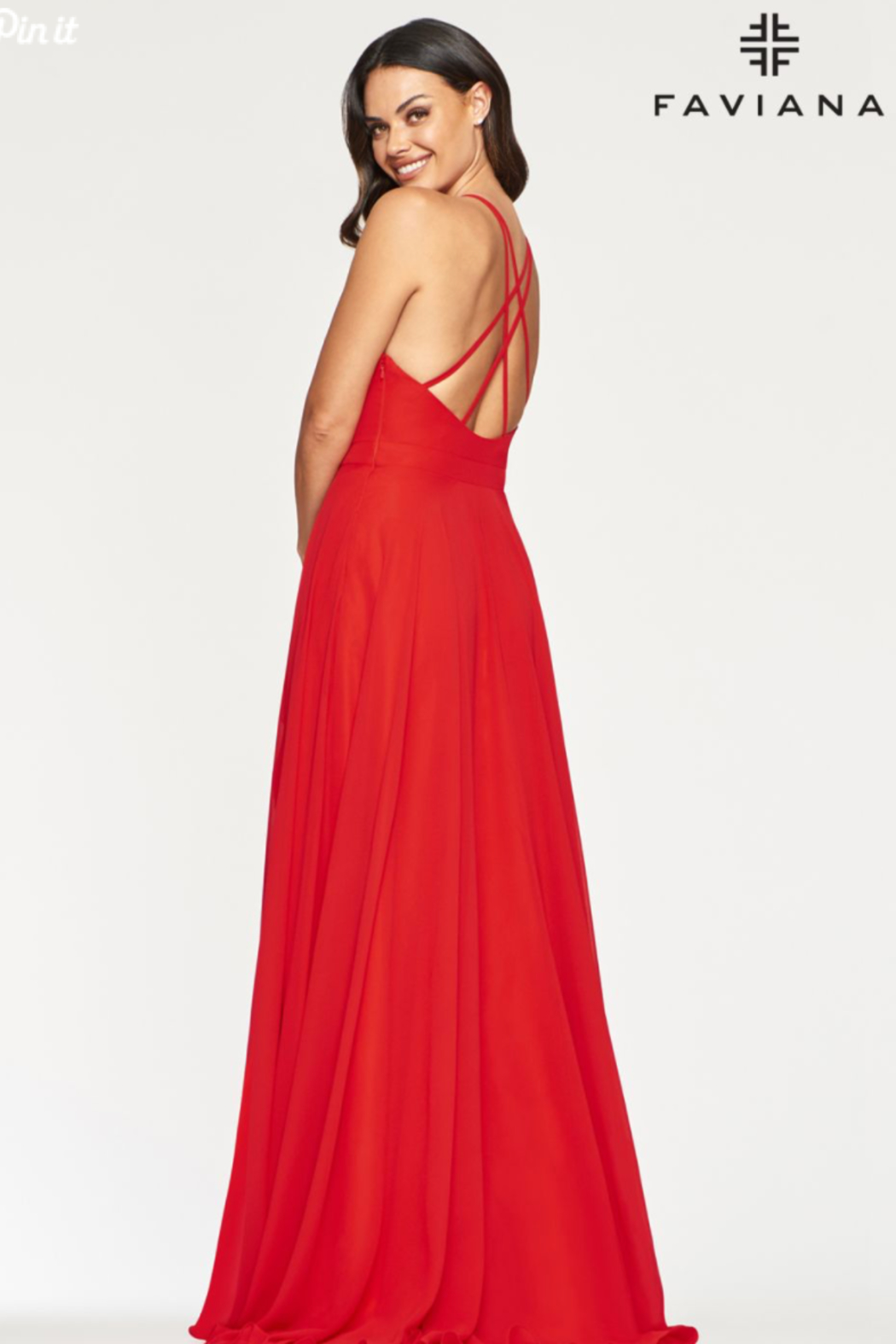 Faviana Classic Chiffon Gown - Front Full Image