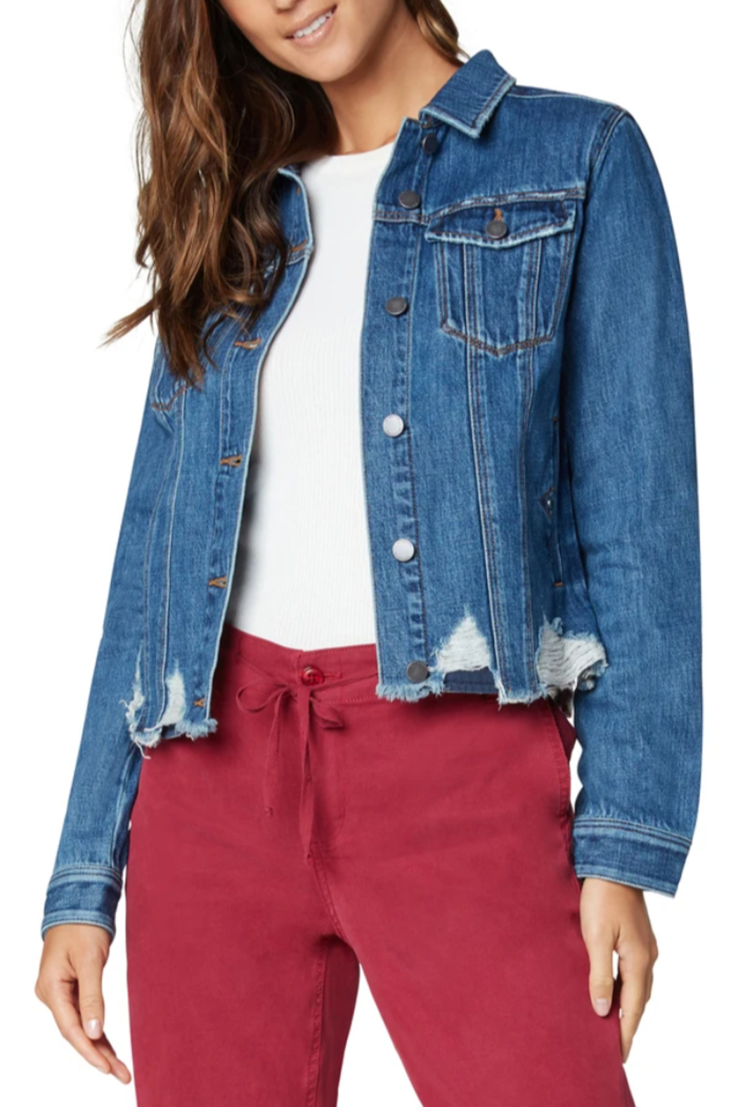 Liverpool  Classic Denim Jacket with Shredded Hem - Front Cropped Image