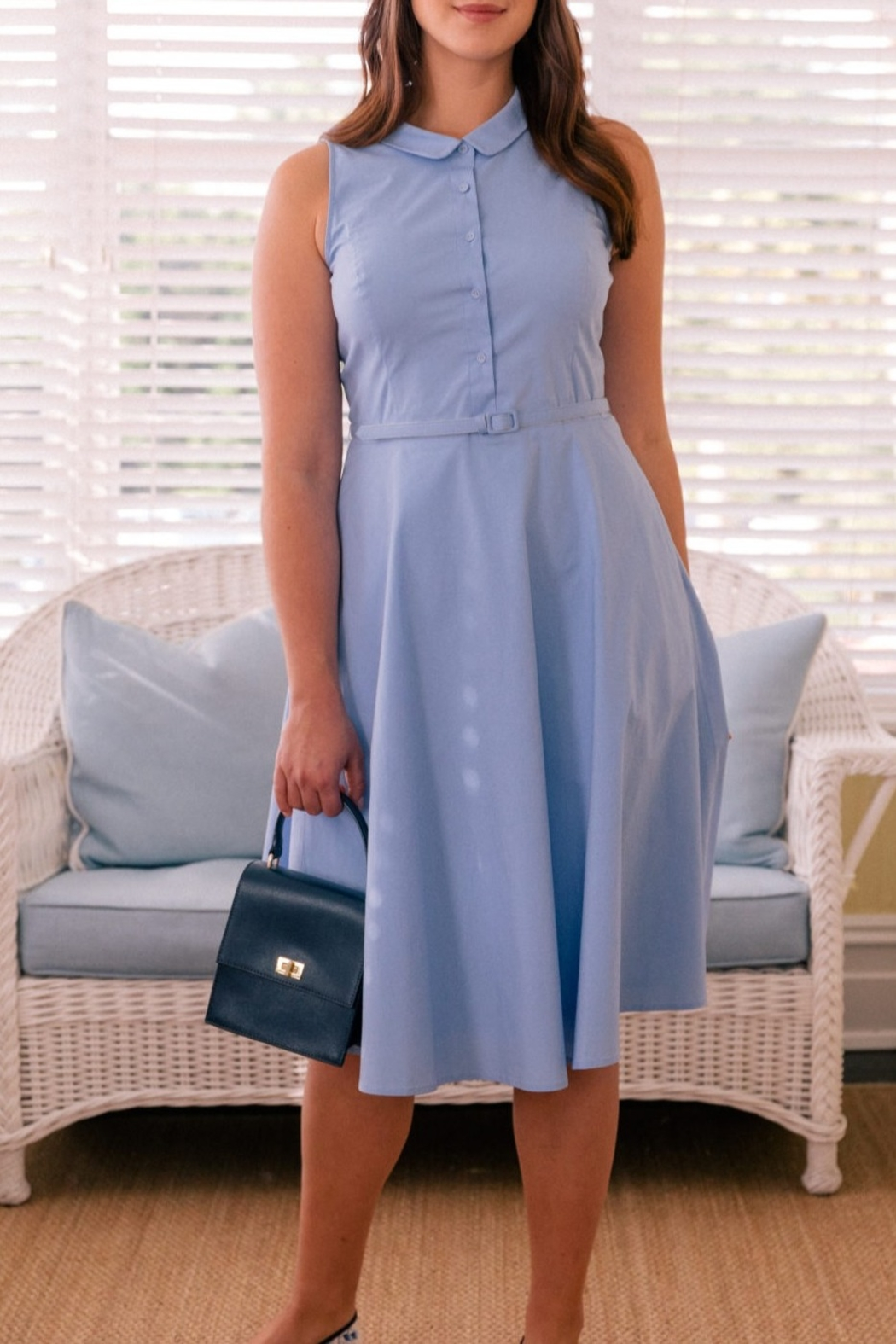 Gal Meets Glam Classic Halter Shirtdress - Side Cropped Image