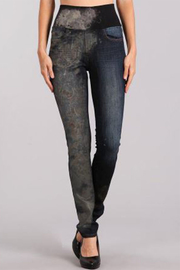 M. Rena Classic Jeans with High Waistband and Camo Sublimation Print - Product Mini Image